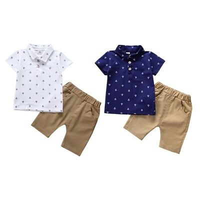 2PCS Toddler Baby Boys Kids Casual Clothes T-shirt Tops+Pants Shorts Outfits Set