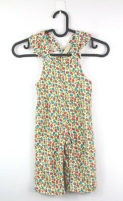 Vintage Toddler Girls 2T 3T Corduroy Long Overalls Jumpsuit Floral Snap Button
