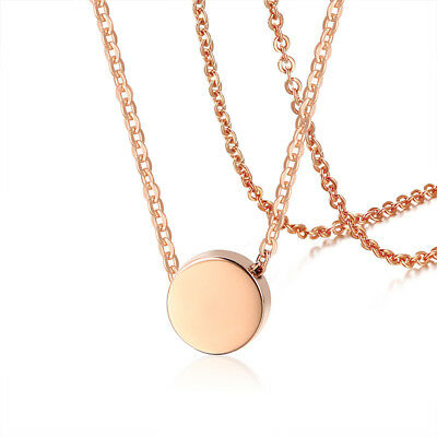 Rose Gold Women Girl Coin Necklace Pendant Chain Wedding Bride Anniversary Gift
