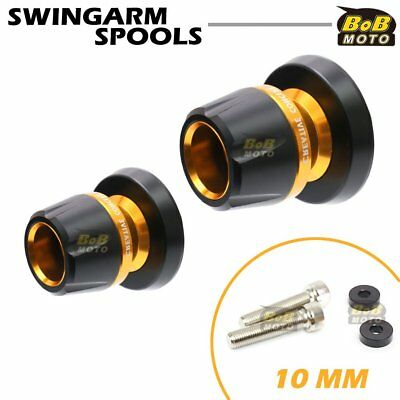 Swingarm Spools Gold 10mm CNC Rear For Kawasaki ZX9R 98 99 00 01 02 03