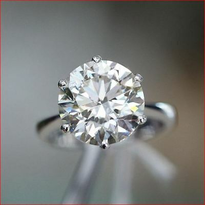 3Ct Round Cut Moissanite Diamond Solitaire Engagement Ring White Gold 14K