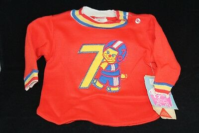 Vintage Carter's Infant 3 Months Sweater Red Blue Yellow Football Patch