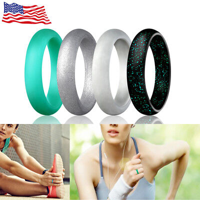 Glitter Silicone Engagement Rings Women Egnaro Wedding Sport Workout Gym Gifts