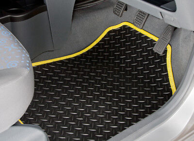 Peugeot Partner Tepee (2008-On) Tailored Rubber Car Mats With Yellow Trim [2142]