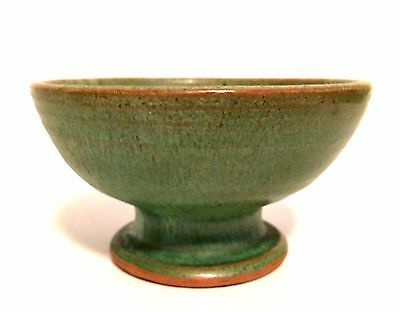 Art Pottery Prairie Green Footed Candle Holder Bowl 2 inches Tall Unsigned