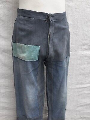 Vtg French Chore Pants 30's Trousers Vtg Indigo Work Pants 40's Chore Patched