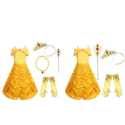 Girls Fairy Tale Princess Cosplay Costume Belle Party Fancy Dress Up Halloween