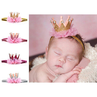 Kids Girl Baby Toddler Shiny Crown Headband Princess Hair Clip Lace Hair Band .