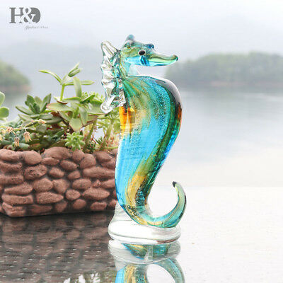Blue Crystal Seahorse Handmade Collectible Glass Blown Animal Figurine Art Gifts