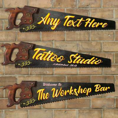 Personalised Tattoo Saw Sign, Shed, Garage, Workshop Sign, Funny Man Cave Plaque