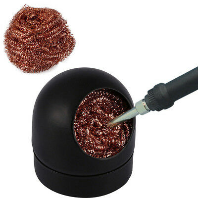 Pro Heavy Duty Welding Solder Iron Tip Cleaner Steel Wire Mesh Ball & Stand Tool