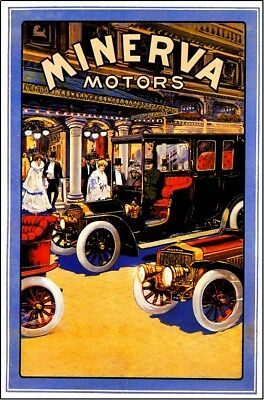 Antwerp, Belgium Minerva Automobile Car Advertisement Art Vintage Poster Print
