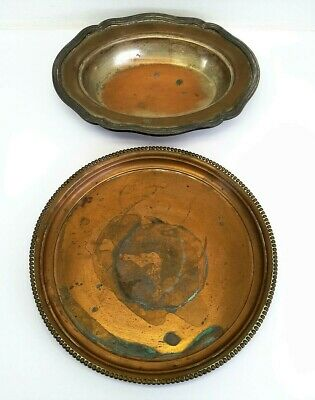 Antique Copper Metal Plant Tray Serving Bowl Metalware Sheffield 722 Hallmarks