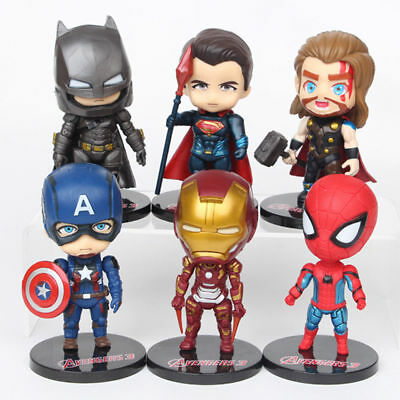 6PCS Marvel The Avengers Captain America Iron Man Thor Action Figure Xmas Gifts