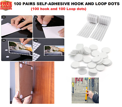 100/ 2 Pairs Hook and Loop Dots Tapes Self Adhesive White Coins  Stick-On