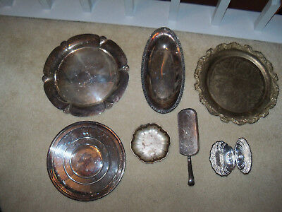 Lot of Vintage Silverplate Platters Dishes Server Rogers International Primrose