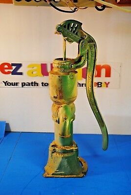 VINTAGE Myers Hand Water Pump Green and White Paint - Pump #1254