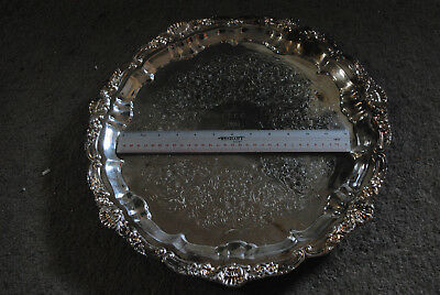 Antique Round Old English Poole Erca 5932 Silver Plate Tray,footed,shell