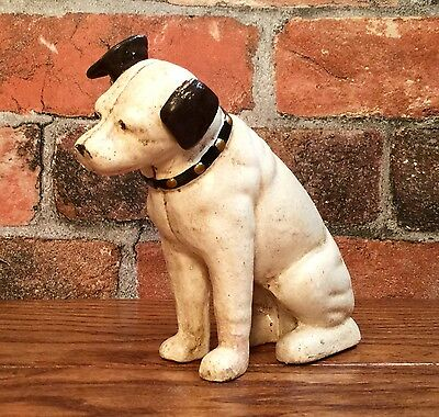 Cast Iron Nipper Dog Vintage Coin Bank with Glass Eyes