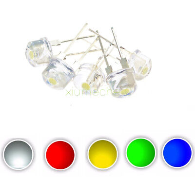 10PCS Yellow White Red Green Blue 8MM Straw Hat 0.5W LED Light Emitting Diode M8