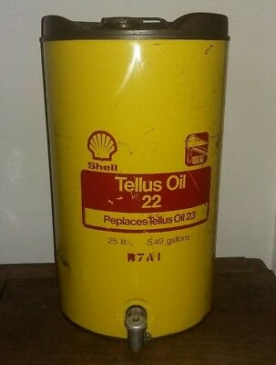 VTG RARE SHELL TELLUS Motor Oil 22 with Tap 25 Ltr Automobilia MAN CAVE
