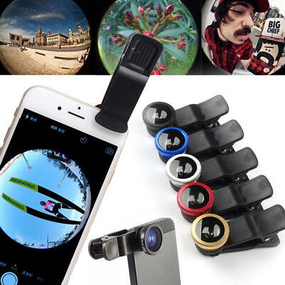Smart Phone Camera Lens Universal 3in1 Clip On Kit Wide Angle Fish Eye Macro