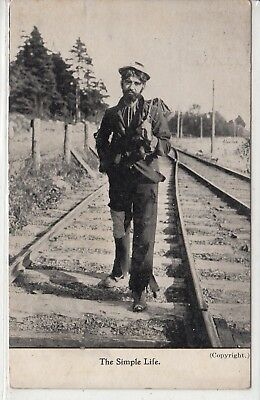 "Lithograph PC - Hobo on Train Tracks - ""The Simple Life"" - 1907"