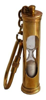 SOLID BRASS  Sand Timer Key Chain Hour Glass & shining Finish