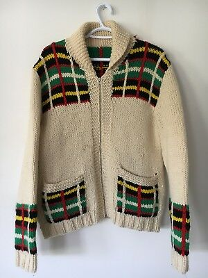 Vtg 50s 60s Wool Knit Cowichan Sweater Shawl Collar Lightning Zipper Lebowski