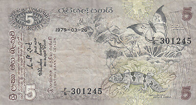 *Banknote*Central Bank of Ceylon*SRI LANKA*5 Rupees*1979*P. 84 a*Echse*
