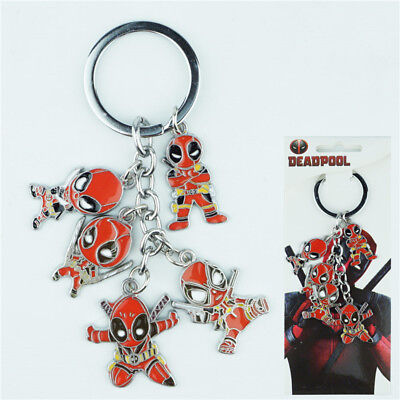 Marvel Deadpool Keychain 5Pcs/Set Metal Pendant Keyring For X-Men Fan Gift