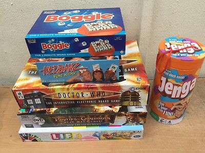 CLASSIC BUNDLE OF POPULAR FAMILY BOARD GAMES 7+ Doctor Who Boggle Hedbanz Life +