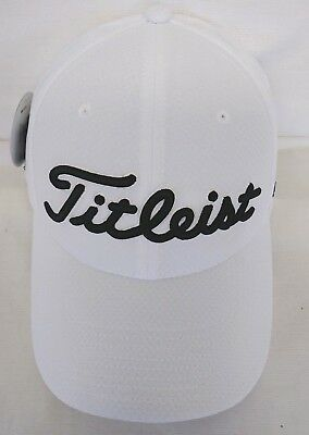ef8e647738c Titleist Dobby Tech Staff Men s Golf Hat NEW 2017 White Fitted S M M L L
