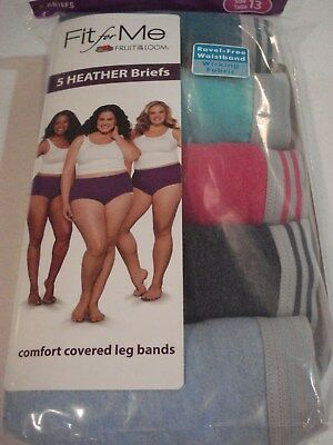 Fit for Me Fruit of the Loom Women's 5 Pack Heather Briefs Size 13 Choose Color