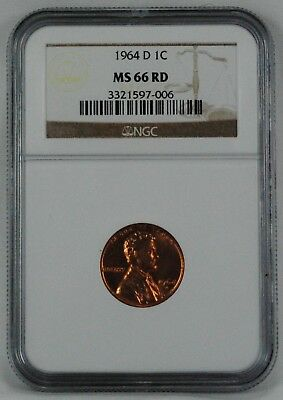 1964 D 1c Lincoln Memorial Penny NGC MS 66 RD Coin