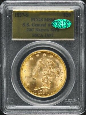 1857-S S.S. Central America Shipwreck $20 Gold T 1 Liberty PCGS MS64 20C Narr...