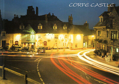 England - Corfe  -  Corfe Castle and Village at night