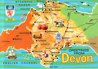England - Devon  -  Overview map - Map with Coat of arms