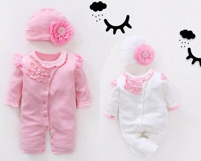 Newborn 0-3 m Baby bodysuit 6 9 12 m girls bodysuit & hat set baby shower gift