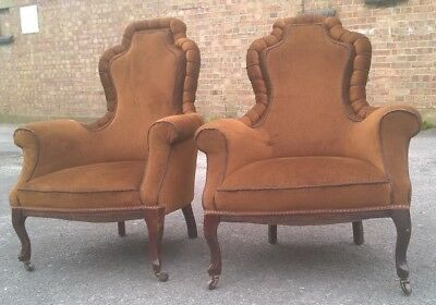 Pair of Early 20th Century Antique Chairs Vintage Salon Library Armchairs