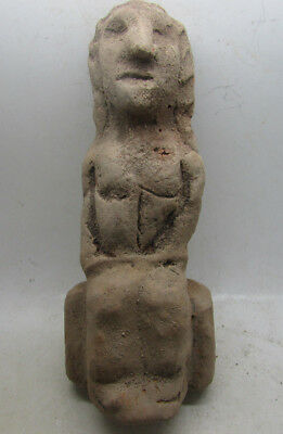 Ancient Middle Eastern Terracotta Idol - Robed Lady Seated
