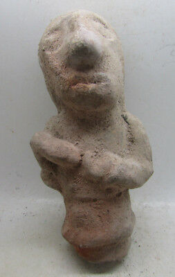 Ancient Western Asiatic Terracotta Idol, Robed Male With Tool In Hand