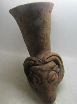 Ancient Greek Ceremonial Terracotta Rhyton With Rams Head Rare