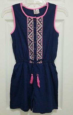 660fca5dfb3 Girl s Summer Romper Jumpsuit Outfit Navy Blue Embroidered Size 12 NWT