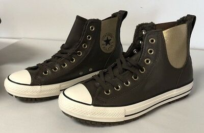 CONVERSE CHUCK TAYLOR All Star Leather High Tops Fur Lined Sneakers Size 10.5