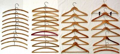 32 Vintage Wood Hotel and Dry Cleaners Advertising Hangers, mostly California