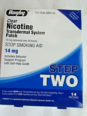 Rugby 14 Clear Nicotine Patch 14mg stop smoking aid exp 6/20