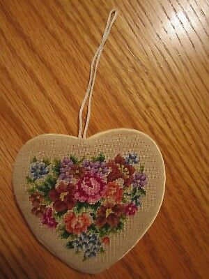 VTG. Unusual Heart Shaped Needle Point Flowers Tooth Fairy Holder/Pillow--Lovely
