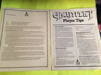Original Atari Gauntlet Player Tips Sheet and Player Quest Contest Information