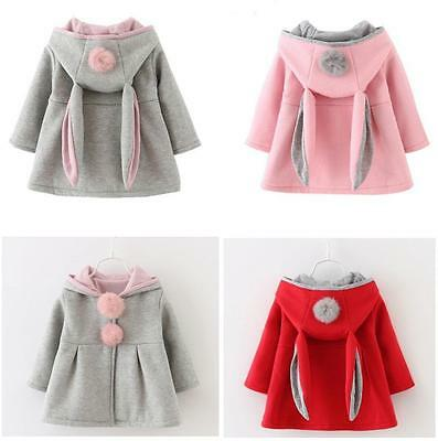 Kids Toddler Girls Cotton Coat Top Rabbit Ear Hooded Winter Cape Hoodies Jacket